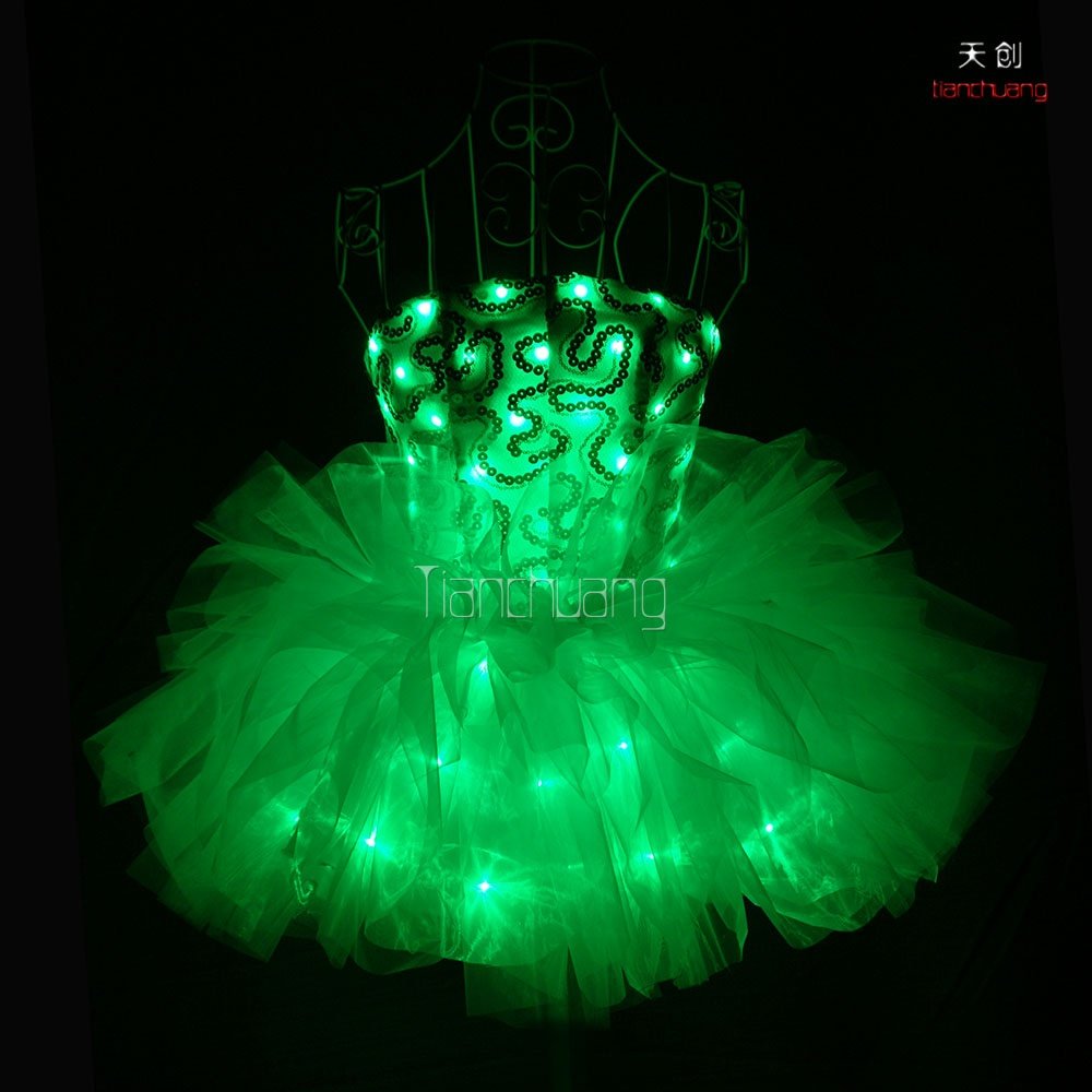 TC-0143 LED light-up flower bra skirt Tutu dress