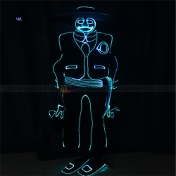 TC-0199 full color LED fiber optic tron dance jumpsuit