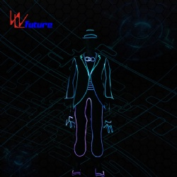 WL-0224 Remote control LED Light up Fiber Optic boys Hip Hop Dance costume with Hat & Gloves, MJ Dance Suits LED Costume